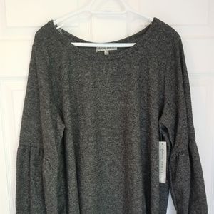 Absolutely Famous Knit Top NWT 2X & 3X Dark Gray